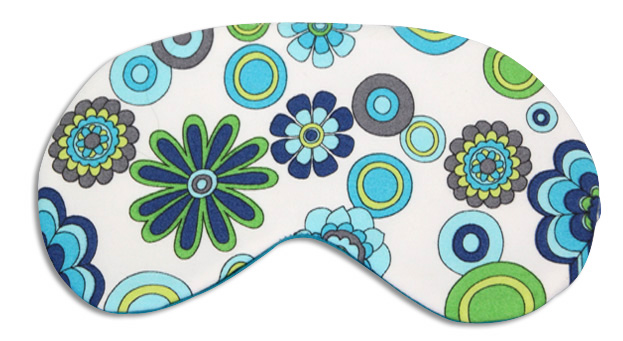 Floral Blue Silk Sleep Mask - front