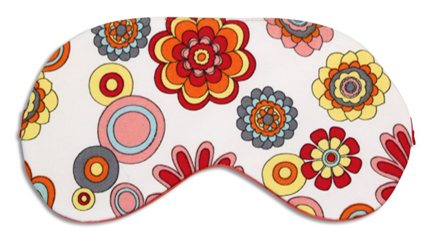 Floral Tangerine Silk Sleep Mask - front